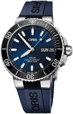 Oris Aquis Big Day Date Blue Rubber Strap Blue Dial Men's Watch 01 752 7733 4135-07 4 24 65EB