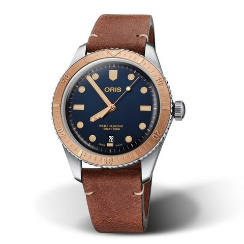 Oris Divers Sixty-Five Bronze Bezel Brown Leather Strap Men's Watch 01 733 7707 4355-07 5 20 45