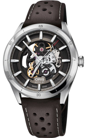 Oris Artix GT Skeleton Dial Black Leather Strap Men's Watch 01 734 7751 4133-07 5 21 09FC