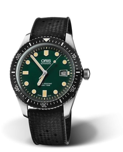 Oris Divers Sixty-Five Green Dial Black Rubber Strap Men's Watch 01 733 7720 4057-07 4 21 18