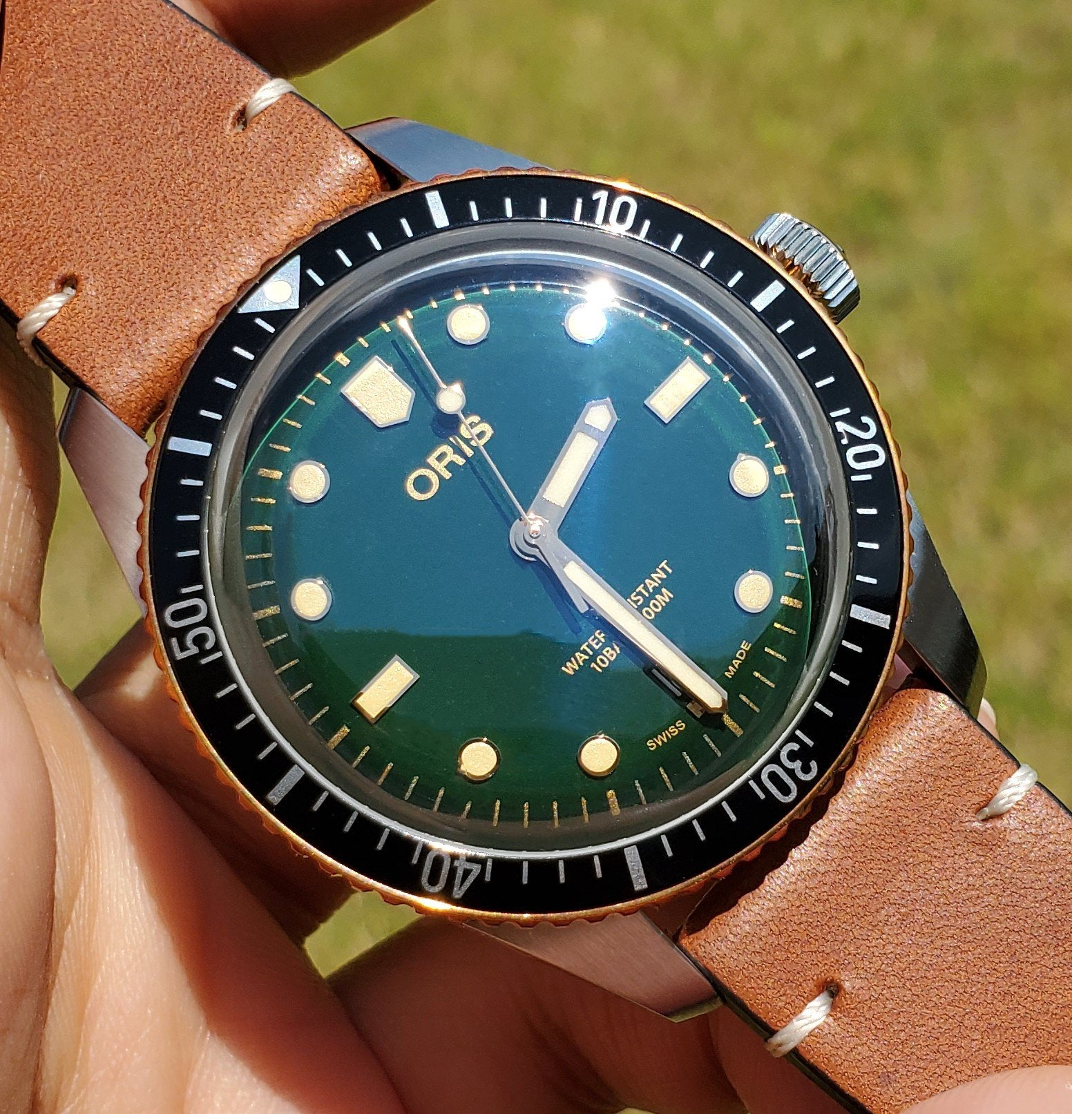 Oris Divers Sixty-Five Bronze Green Dial Leather Band Men's Watch 01 733 7707 4357-07 5 20 45