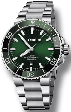 Oris Aquis Date Green Dial Stainless Steel Band Men's Watch 01 733 7730 4157-07 8 24 05PEB