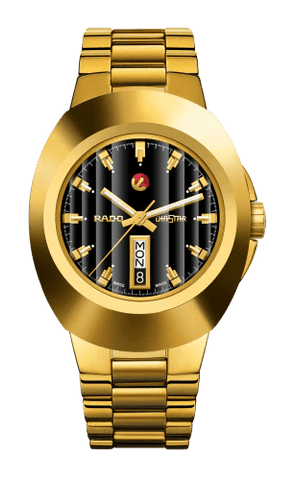 RADO New Original Automatic Yellow Gold Black Dial Men's Watch R12999153