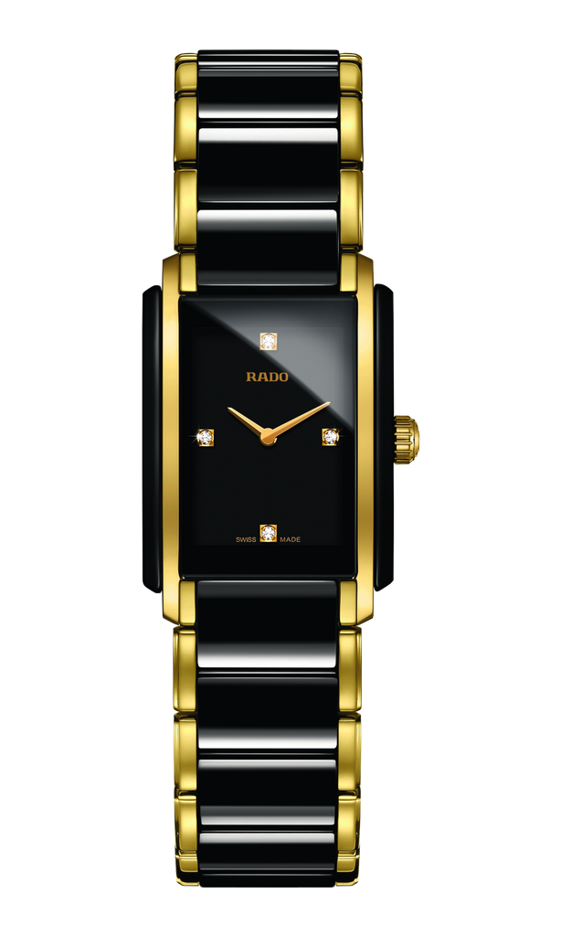 RADO Integral Diamonds 22.7mm Ceramic-Stainless Steel Black-Gold Women's Watch R20845712