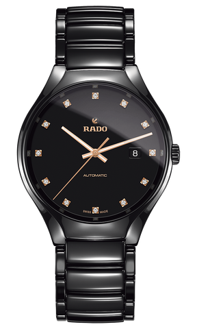 RADO True Automatic 12 Diamonds 40mm Black Ceramic Men's Watch R27056732