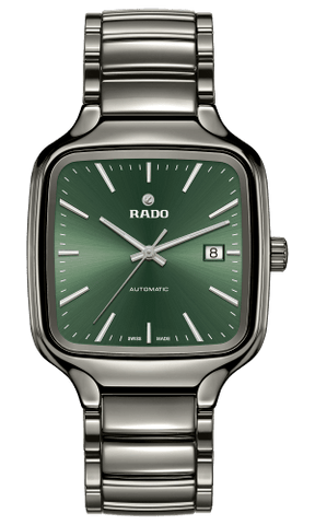 RADO True Square Automatic Green Dial Plasma Ceramic Men's Watch R27077312