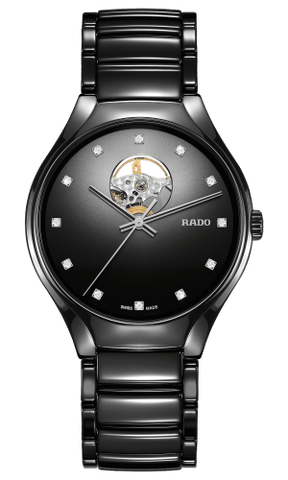 RADO True Secret Diamonds Open Heart Black Ceramic Unisex Watch R27107732