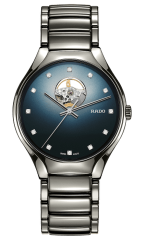 RADO True Secret Diamonds Open Heart Blue Dial Ceramic Unisex Watch R27108732