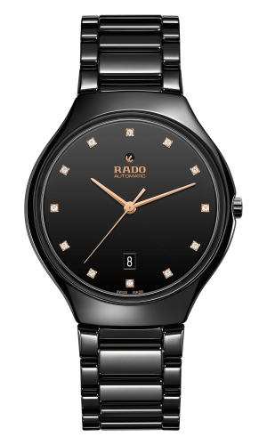 RADO True Thinline Automatic Diamonds Black Ceramic Unisex Watch R27113722