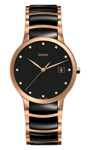 RADO Centrix Diamonds 38mm Black-Rose Gold Men's Watch R30554732