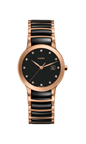 RADO Centrix Diamonds 28mm Black-Rose Gold Women's Watch R30555732