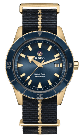 RADO Captain Cook Automatic Bronze 42mm Blue Dial NATO Strap Men's Watch R32504207