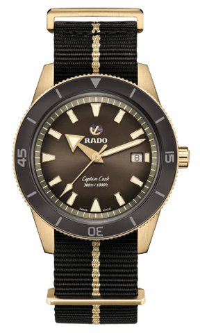 RADO Captain Cook Automatic Bronze 42mm Brown Dial NATO Strap Men's Watch R32504307
