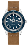 RADO Captain Cook Automatic 42mm Blue Dial Brown Strap Men's Watch R32505205