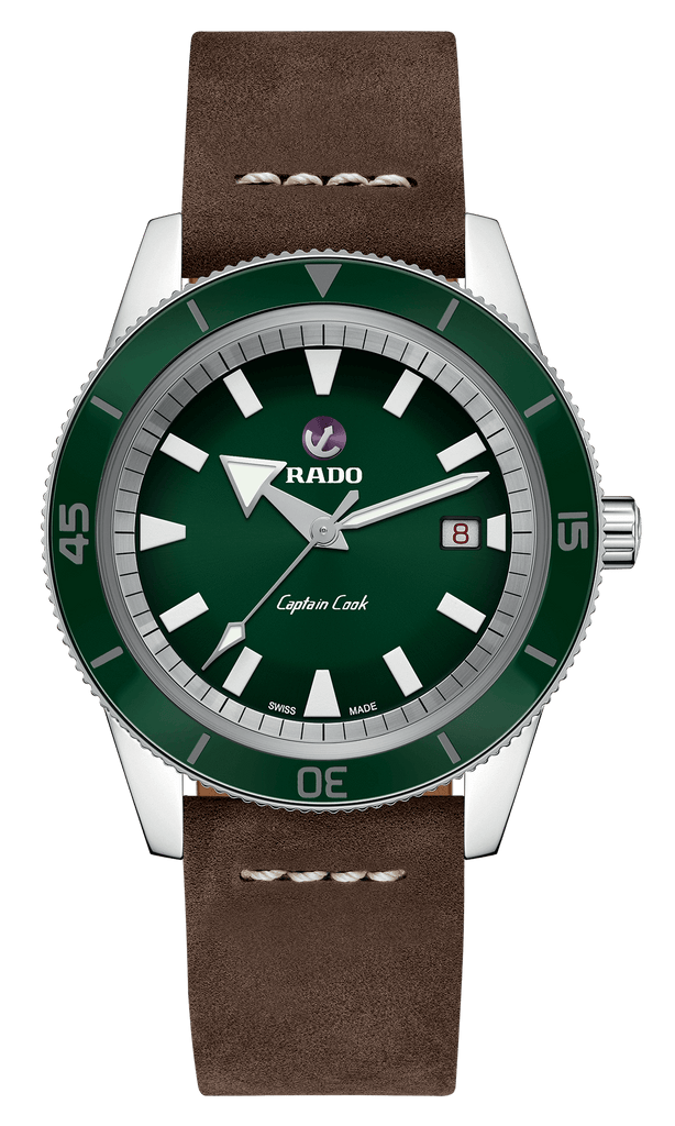 RADO Captain Cook Automatic 42mm Green Dial Dark Brown Strap Men's Watch R32505315