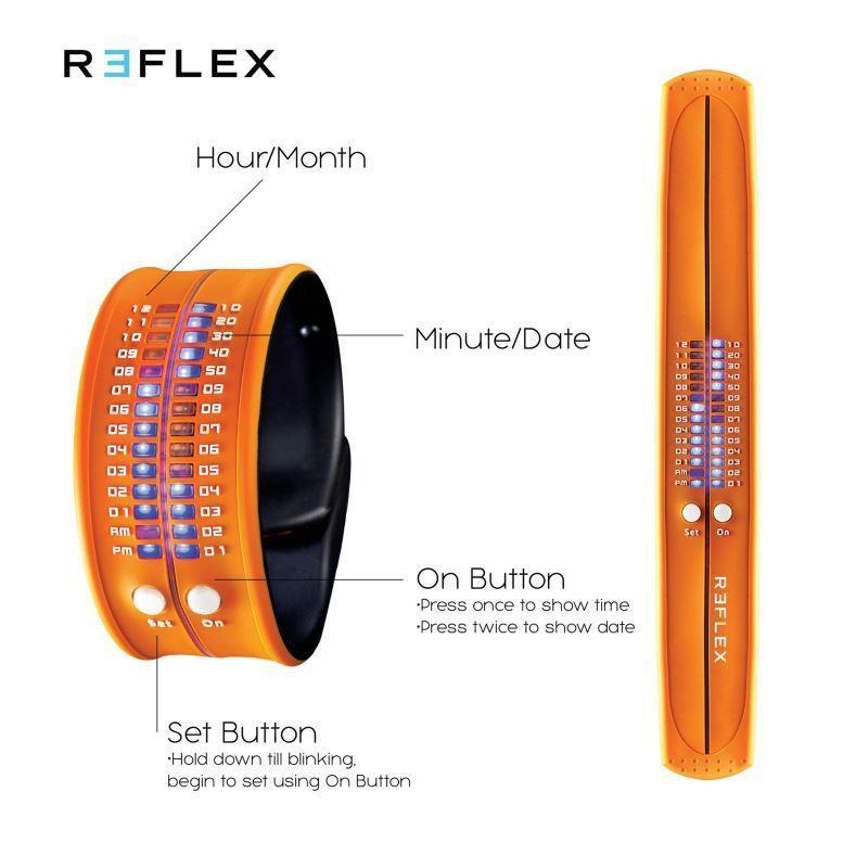REFLEX Orange Slap Silicone Watch LED Digital Display Unisex PD0019 Orange