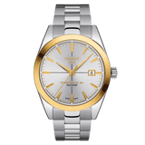 Tissot Gentleman Powermatic 80 Silicium 18K Gold Bezel Silver Men's Watch T9274074103101