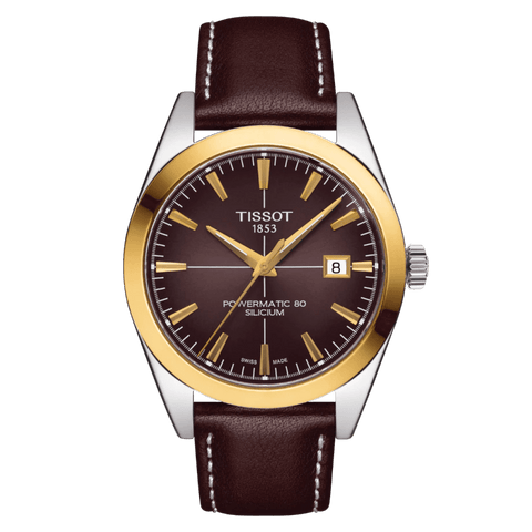 Tissot Gentleman Powermatic 80 Silicium 18K Gold Bezel Brown Men's Watch T9274074629101
