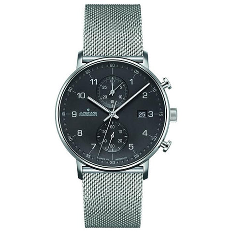 Junghans Form C Chronoscope 45mm Quartz Matte Silver Dial Men's Watch 041/4877.44