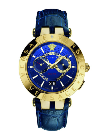 Versace V-Race Blue-Gold Dualtime Leather Strap Men's Watch VEBV00219