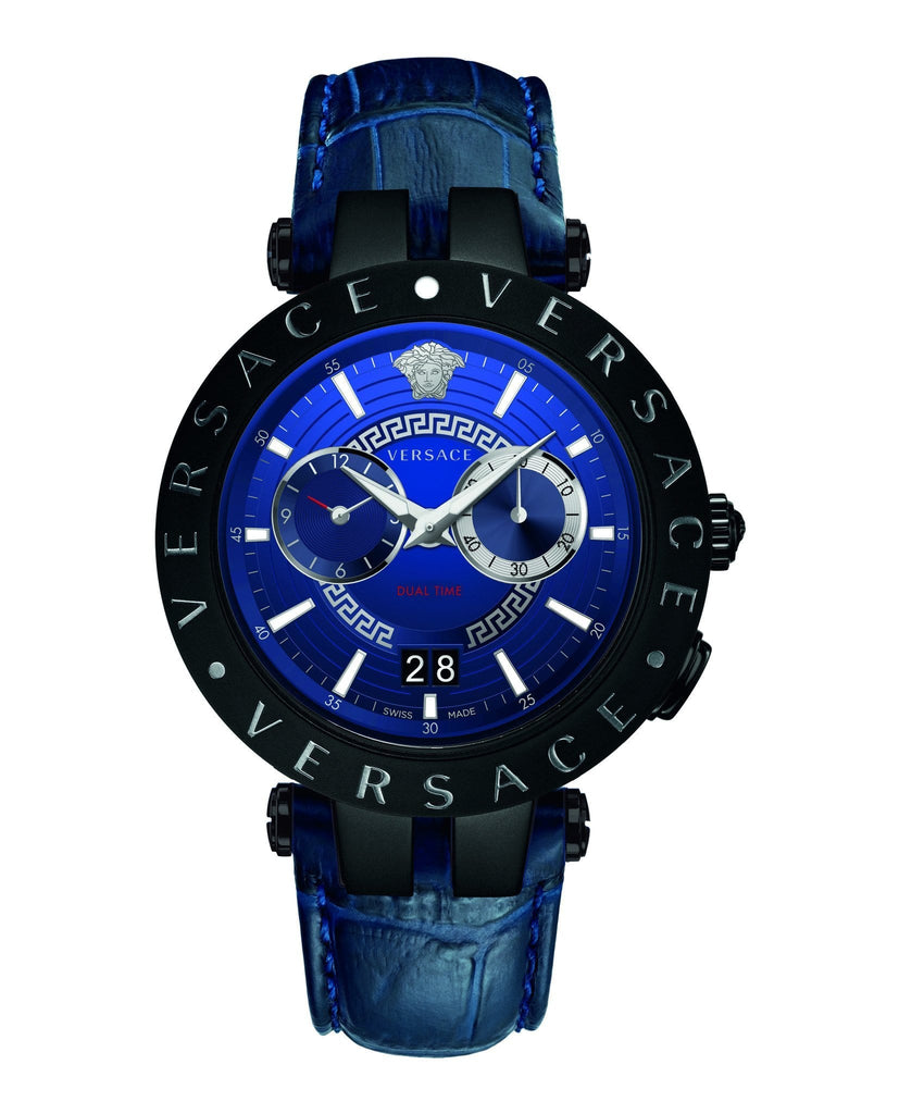 Versace V-Race Blue-IP Black Dualtime Leather Strap Men's Watch VEBV00419