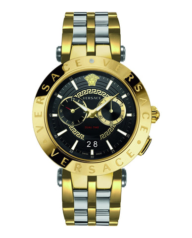 Versace V-Race Silver-Gold Dualtime Stainless Steel Men's Watch VEBV00519