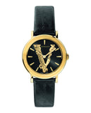 Versace Virtus 36mm Black Leather Strap IP Champagne Women's Watch VEHC00119