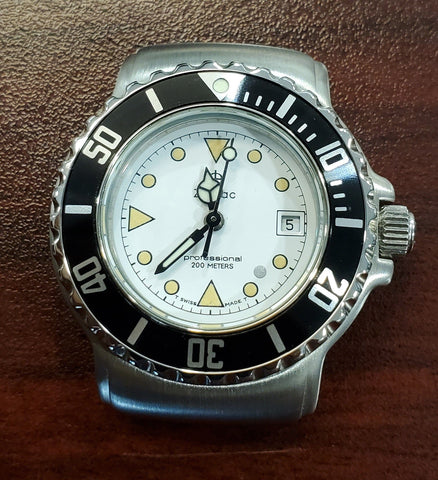 Zodiac Vintage 1990s Dot White Dial Black Bezel Divers 30mm Unisex Watch