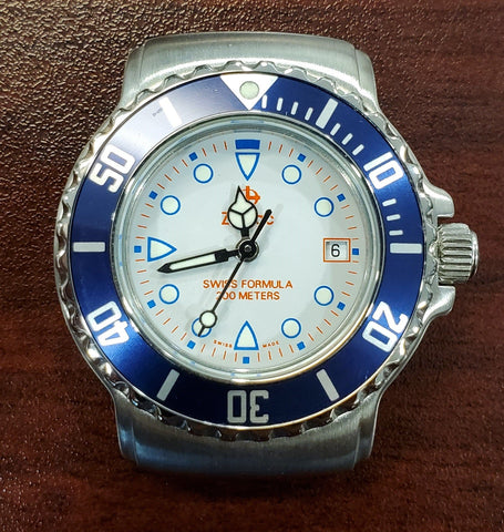 Zodiac Vintage 1990s Grey Dial Dark Blue Bezel Divers 30mm Unisex Watch
