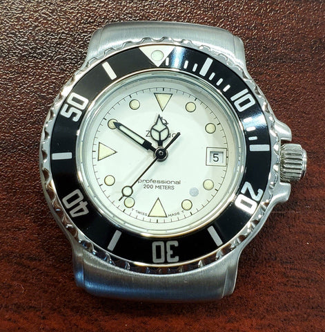 Zodiac Vintage 1990s Silver Dial Black Bezel Divers 30mm Unisex Watch