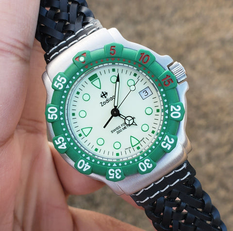 Zodiac Vintage 1990s Luminous Dial Green Bezel 35mm Divers Men's Watch