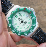 Zodiac Vintage 1990s Luminous Dial Green Bezel 36mm Divers Men's Watch