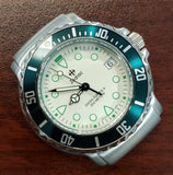 Zodiac Vintage 1990s Cream Dial Green Bezel 35mm Divers Men's Watch