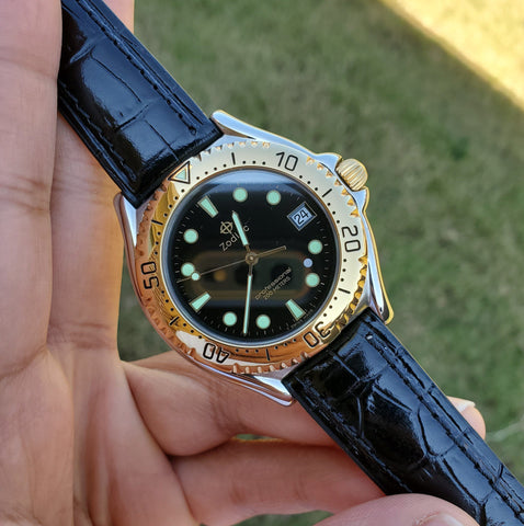 Zodiac Vintage 1990s Gold-Plated Bezel Black Dial Divers 38mm Men's Watch