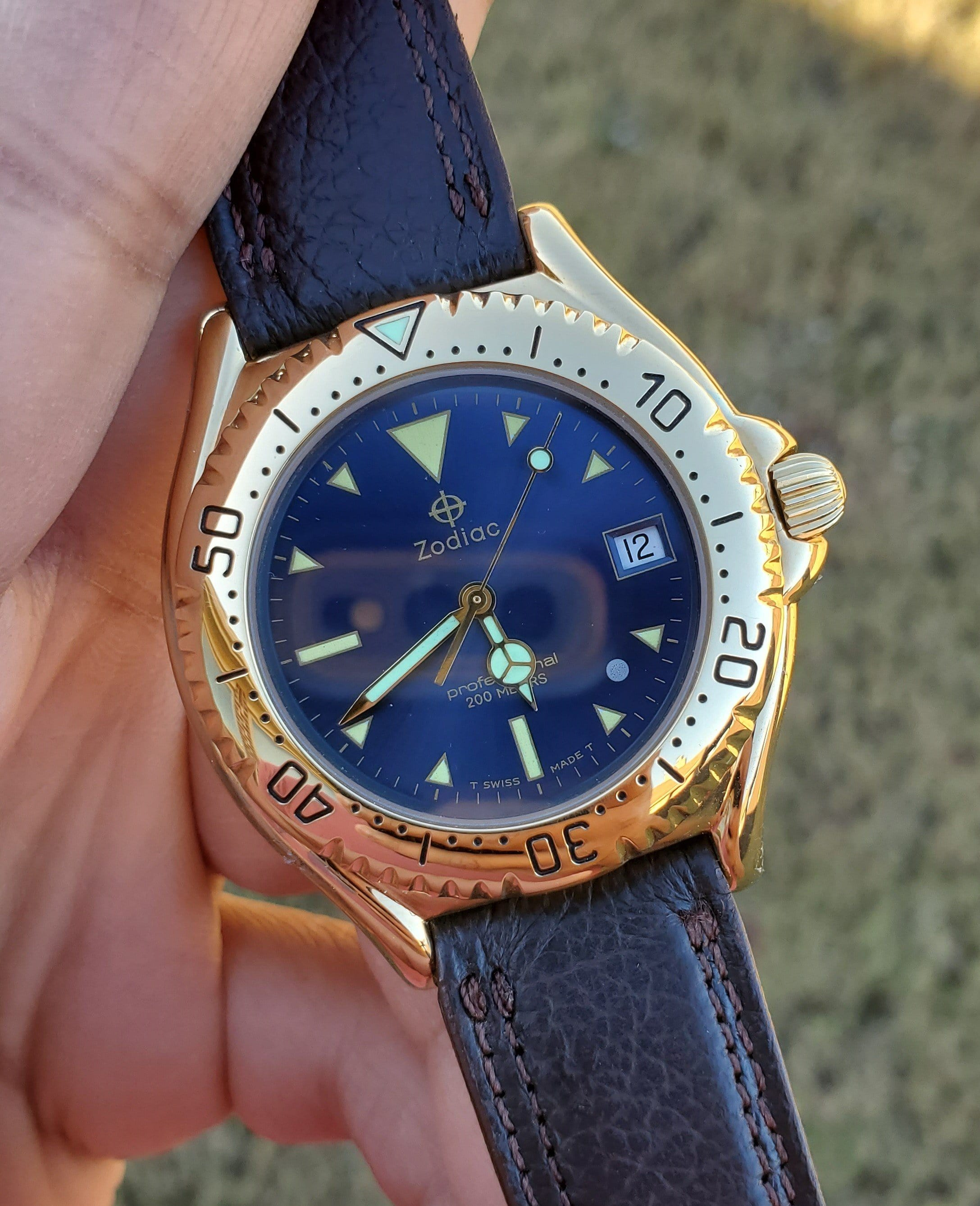 Zodiac Vintage Gold-Plated Blue Sunray Dial 1990s Men's Watch