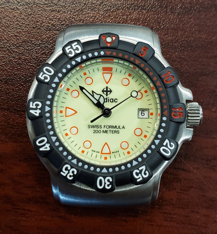 Zodiac Vintage 1990s Luminous Dial Divers 30mm Unisex Watch