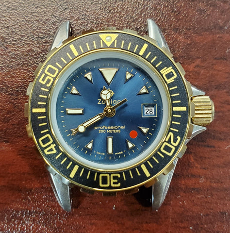 Zodiac Blue Dial Vintage 1990s Quartz Rotating Bezel 27mm Unisex Watch
