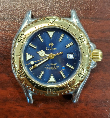Zodiac Vintage Sea Wolf 29mm Blue Sunray Dial Gold-Plated Bezel 1990s Unisex Watch