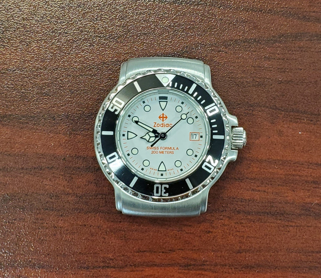 Zodiac Swiss Formula Vintage 1990s Grey Dial Date 30mm Unisex Watch
