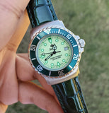 Zodiac Vintage 1990s Luminous Dial Green Bezel Date 30mm Unisex Watch