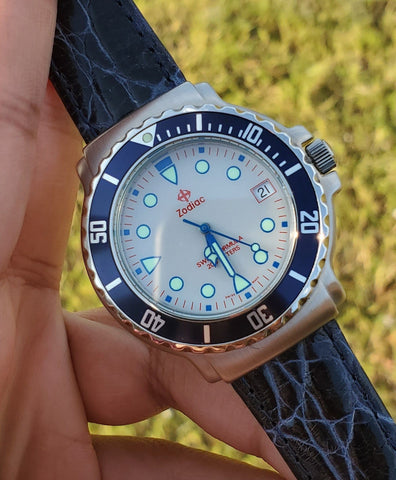 Zodiac Vintage Divers 1990s 38mm Grey Dial Blue Bezel Men's Watch