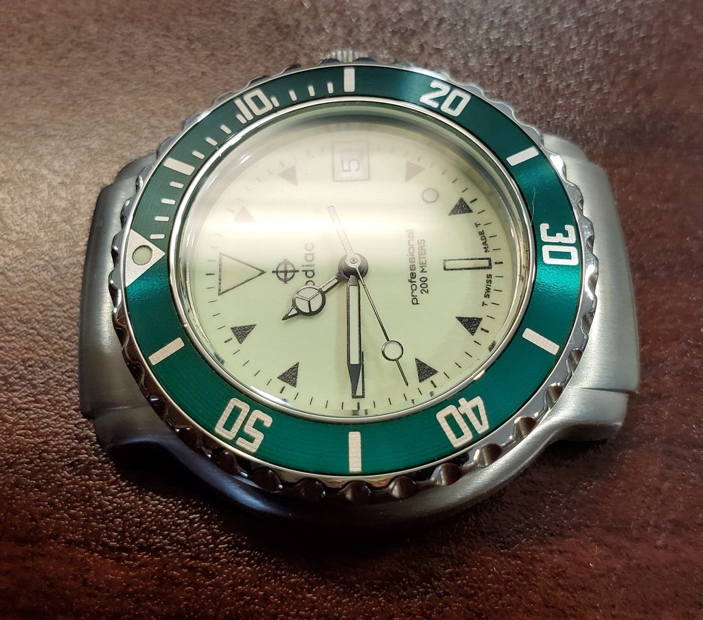 Zodiac Vintage 1990s Luminous Dial Green Bezel Divers 36mm Men's Watch