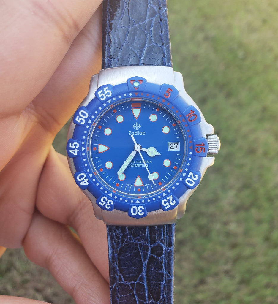 Zodiac Swiss Formula Blue Dial 36mm Vintage Divers Unisex Watch