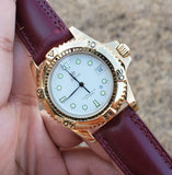 Zodiac Gold-Plated Vintage White Dial 1990s Unisex Watch