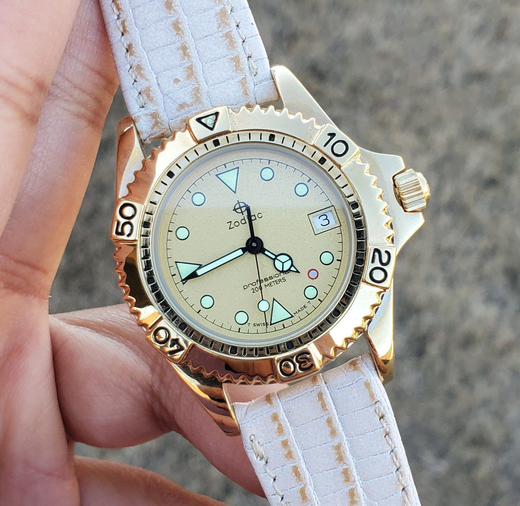 Zodiac Gold-Plated Vintage 1990s Champagne Dial Unisex Watch