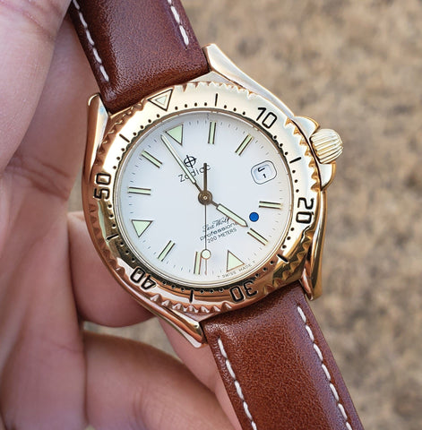 1990s Zodiac Sea Wolf Blue Dot Gold-Plated Men's Watch