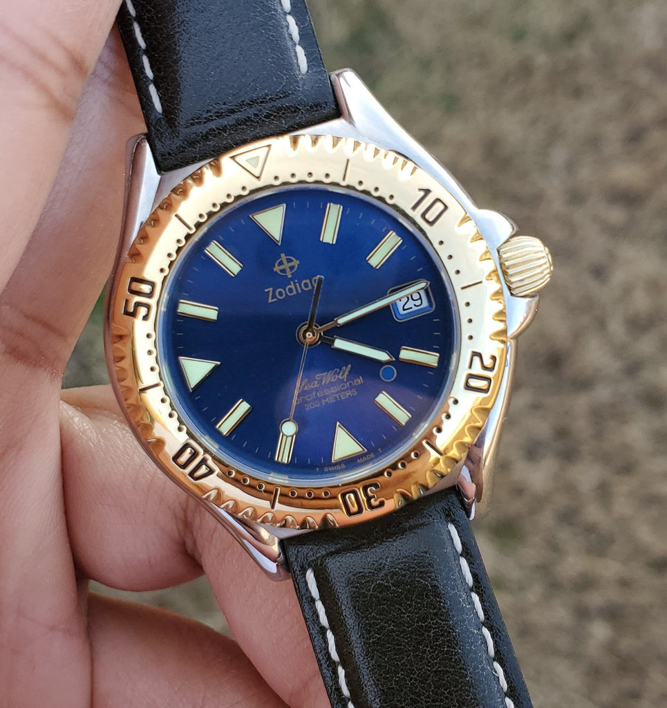 1990s Zodiac Sea Wolf Blue Dot Blue Sunray Dial Gold Bezel Men's Watch
