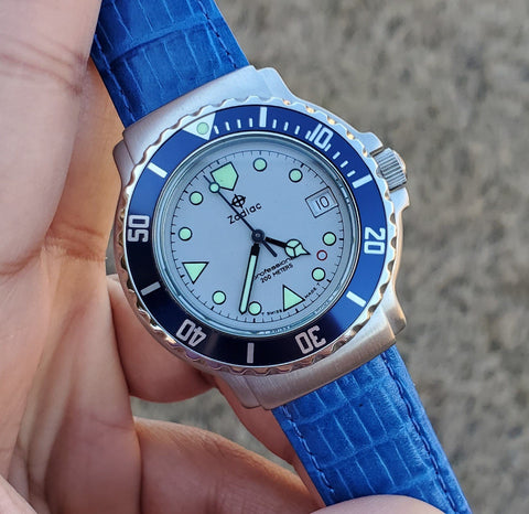 1990s Zodiac Vintage Divers 36mm Blue Bezel Men's Watch