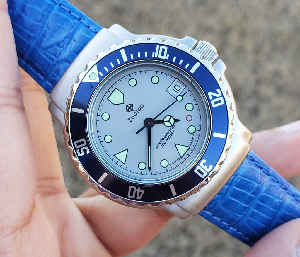 1990s Zodiac Vintage Silver Point Divers 36mm Blue Bezel Men's Watch