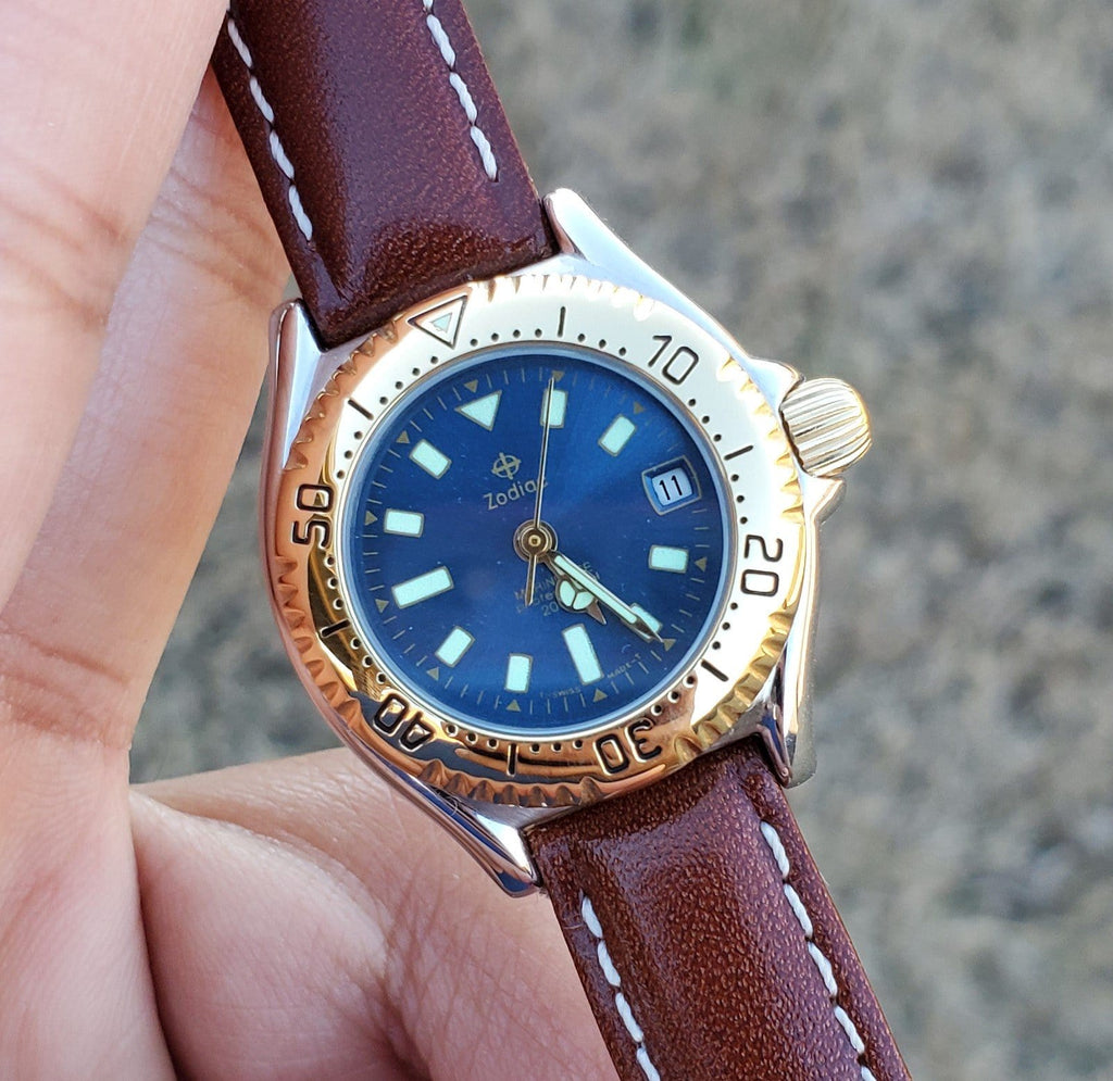 1990s Zodiac Marine Life Professional 26mm Blue Sunray Dial Vintage Women's Watch